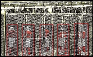 Detainees at Guantanamo prison praying facing Mecca. Several members of the  Taliban have been quietly released from Guantanamo.